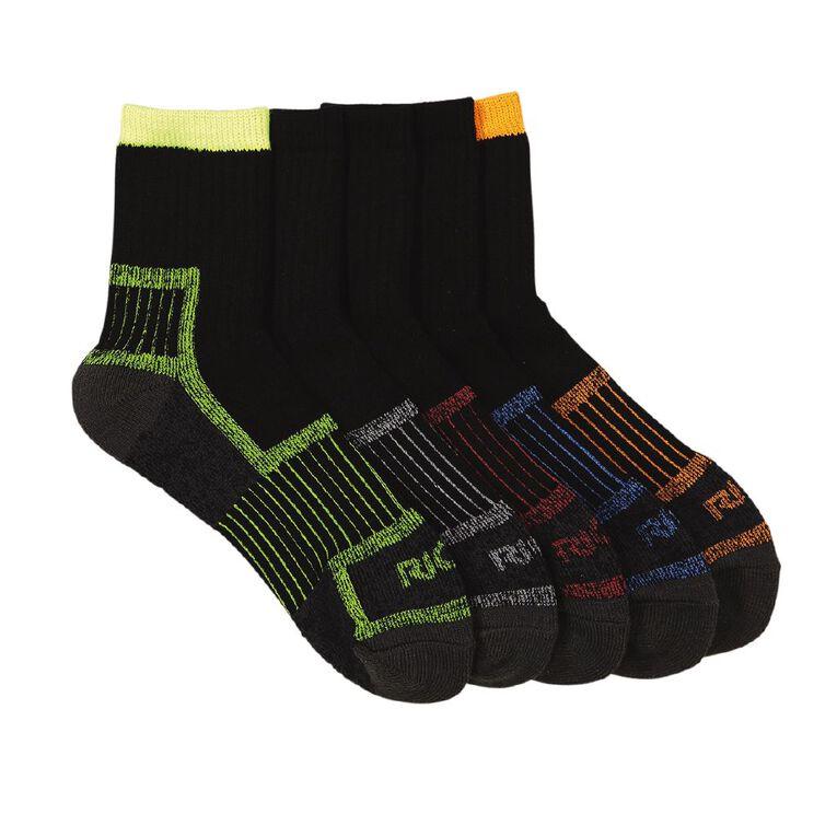 Rio Men's Quarter Crew Work Socks 5 Pack, Multi-Coloured, hi-res