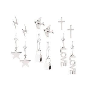 Star Padlock Love Silver Earring 6 Pairs
