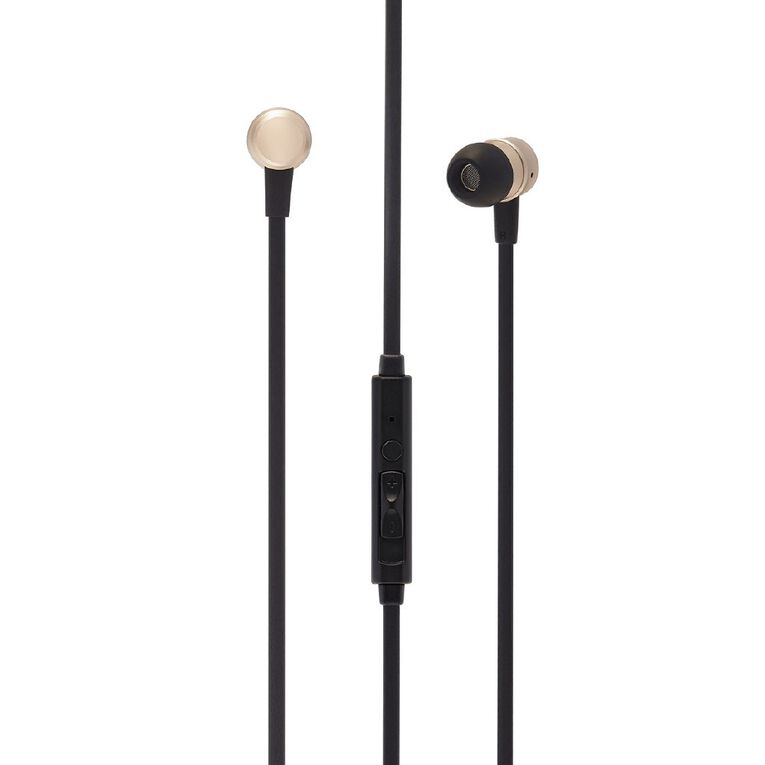 Tech.Inc Metallic Earbuds with Mic and Volume Control Champagne, , hi-res