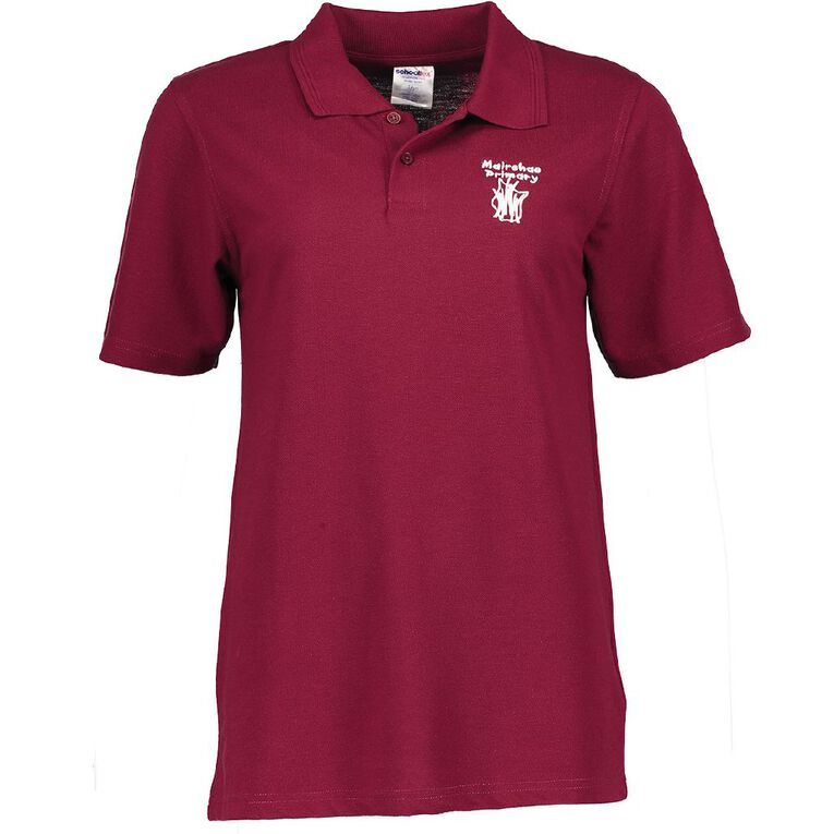 Schooltex Mairehau Primary Short Sleeve Polo with Embroidery, Burgundy, hi-res