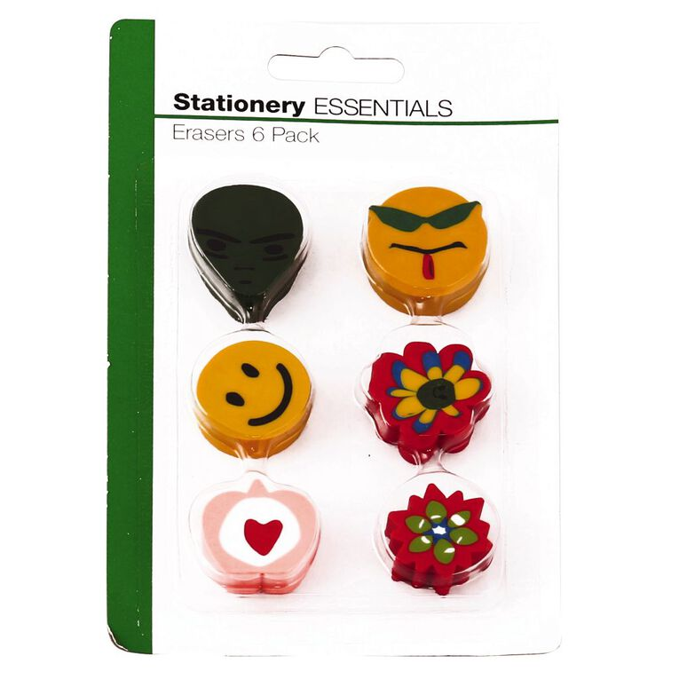 Stationery Essentials Erasers 6 Pack, , hi-res