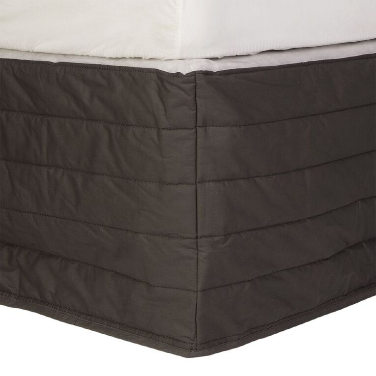 Living & Co Valance Quilted Cotton Charcoal Queen, Charcoal, hi-res