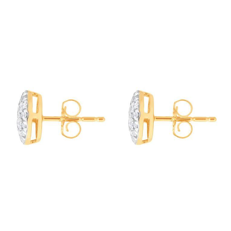 0.50 Carat Diamond 9ct Gold Oval Halo Stud Earrings, , hi-res