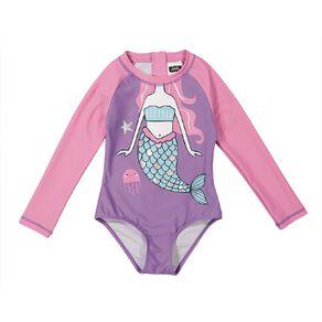 Young Original Girls' Long Sleeve Zip-Thru Novelty Swimsuit