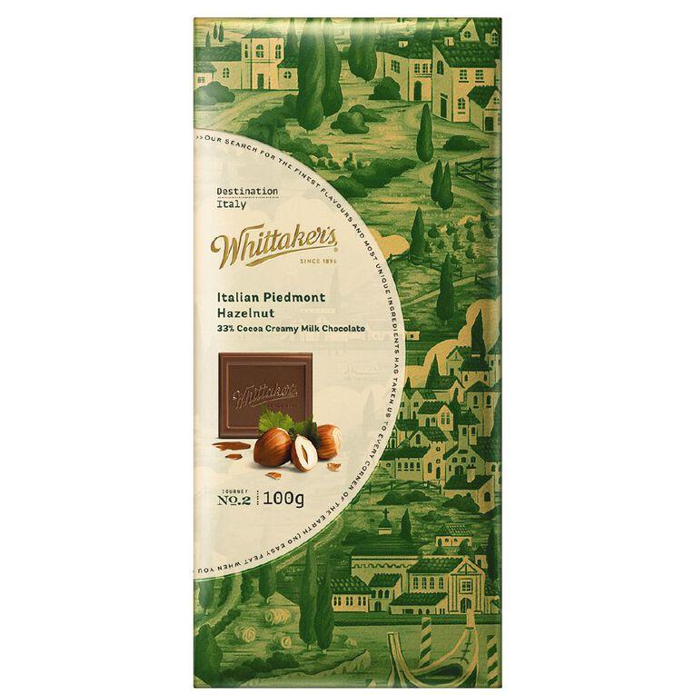 Whittaker's Destination Milk Chocolate Italian Piedamont Hazelnut 100g, , hi-res