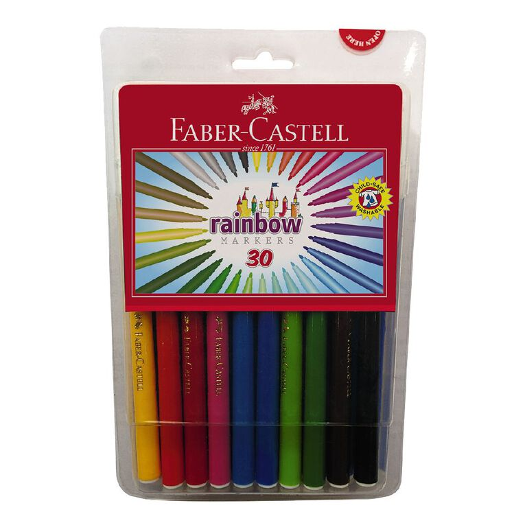 Faber-Castell Rainbow Colour Markers 30 Pack, , hi-res