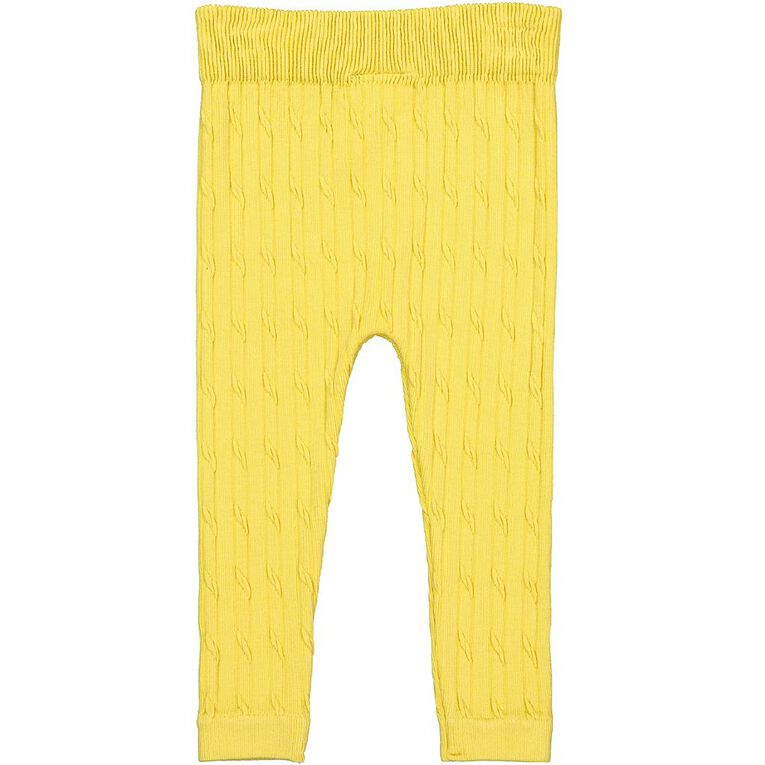 Young Original Toddler Cable Knit Leggings, Yellow Mid, hi-res image number null