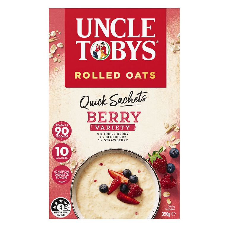 Uncle Tobys Quick Oats Berry Variety 350g, , hi-res