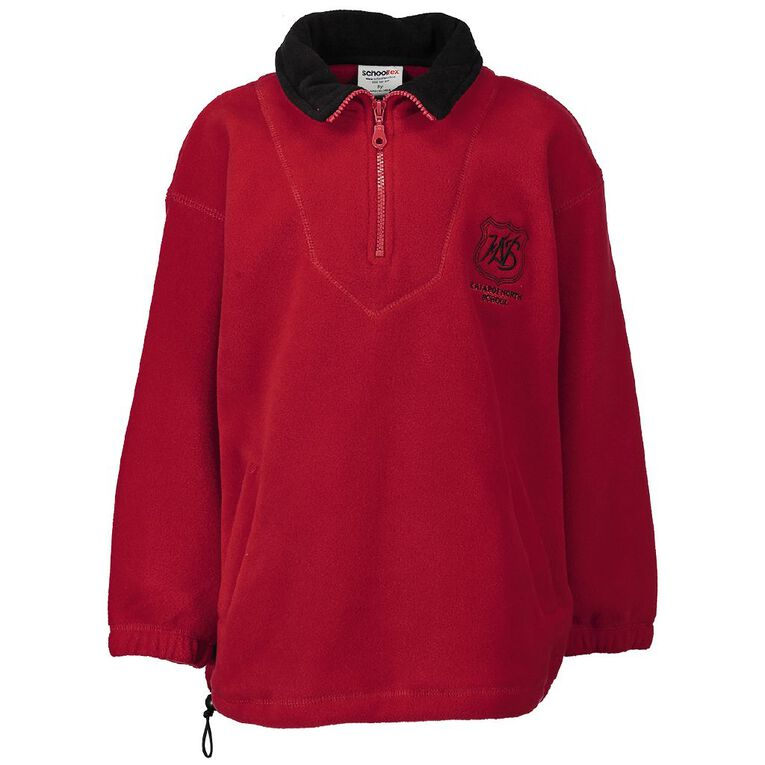 Schooltex Kaiapoi North Polar Fleece Top with Embroidery, Red/Black, hi-res