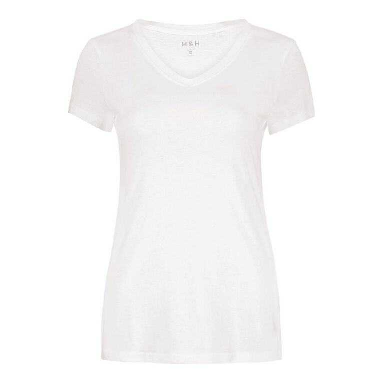 H&H Women's V-Neck Tee, White, hi-res