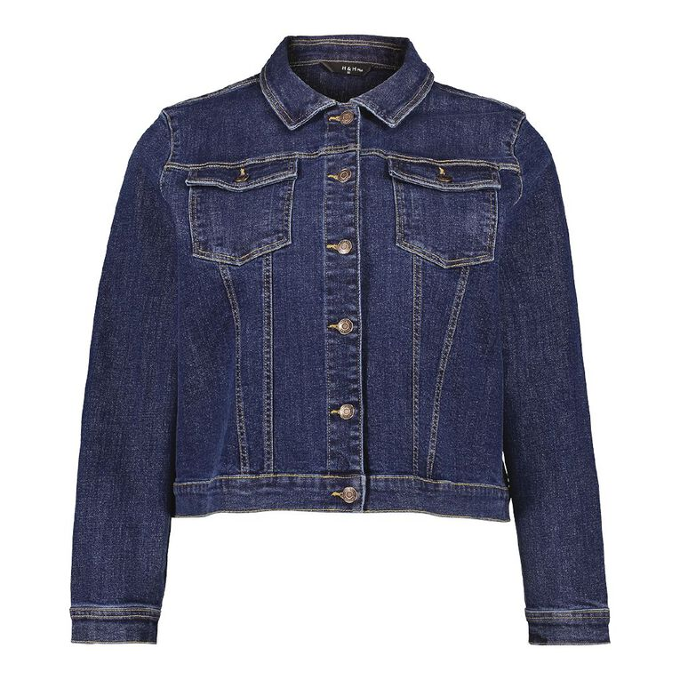 H&H Plus Women's Denim Jacket, Denim Dark, hi-res