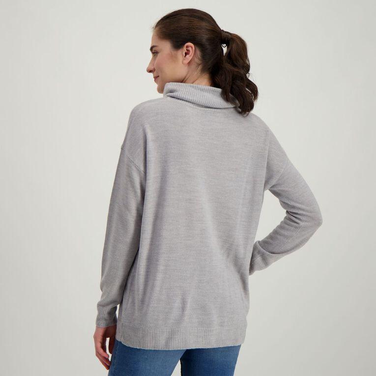 H&H Women's Long Sleeve Funnel Knit Dress, Grey Marle, hi-res