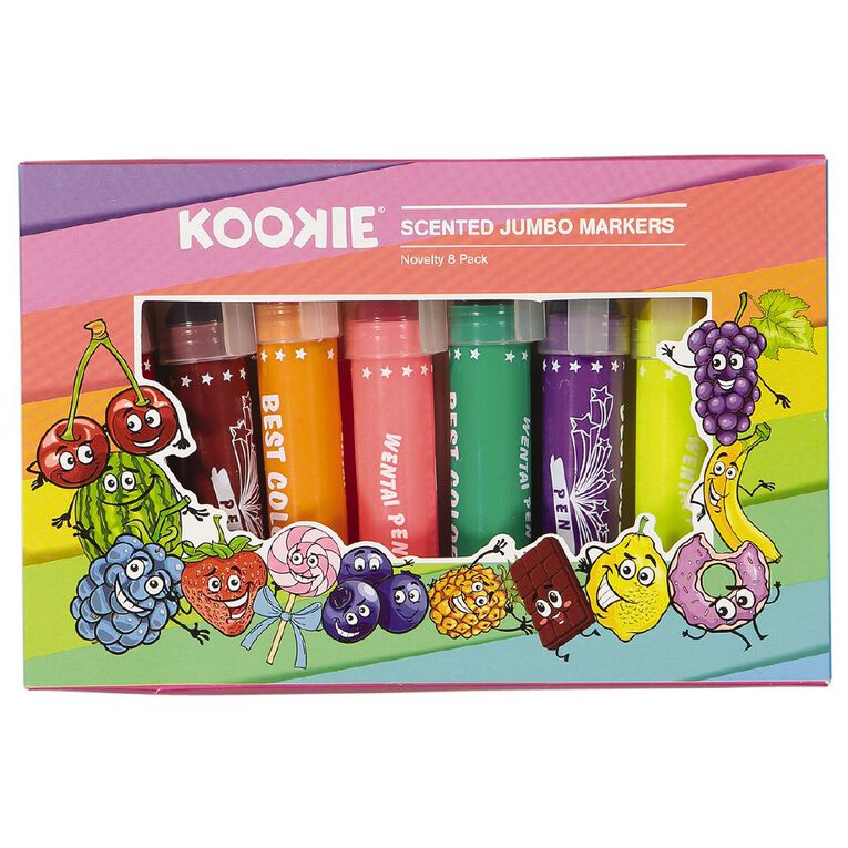 Kookie Novelty Markers Jumbo Scented 8 Pack Fruits Multi-Coloured, , hi-res