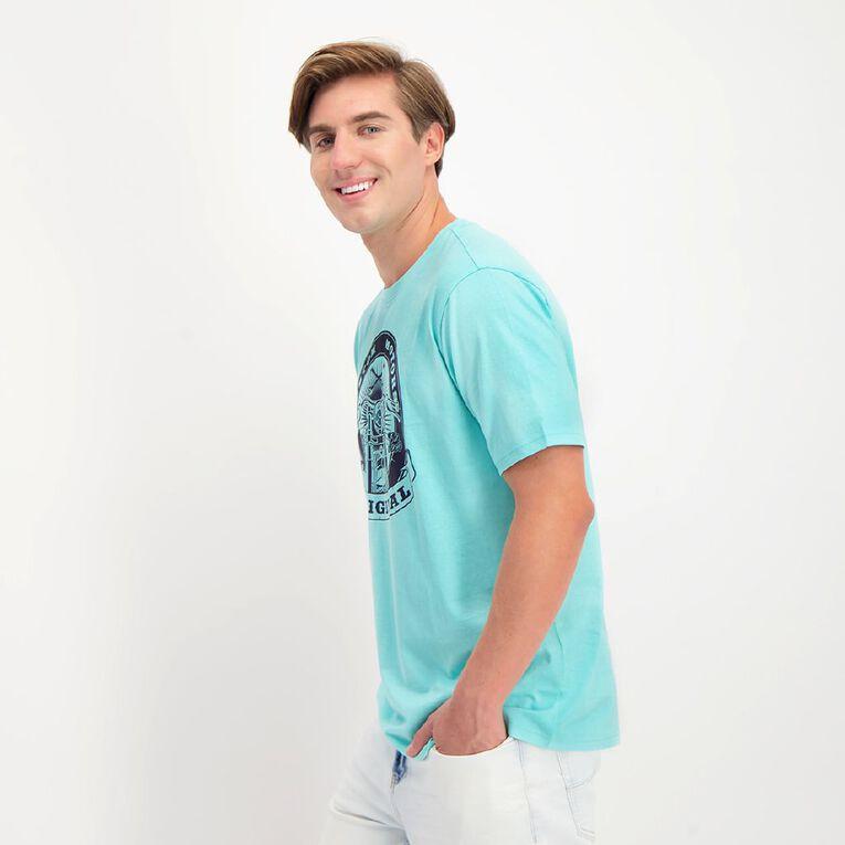 H&H Crew Neck Short Sleeve Printed Tee, Blue/Aqua, hi-res