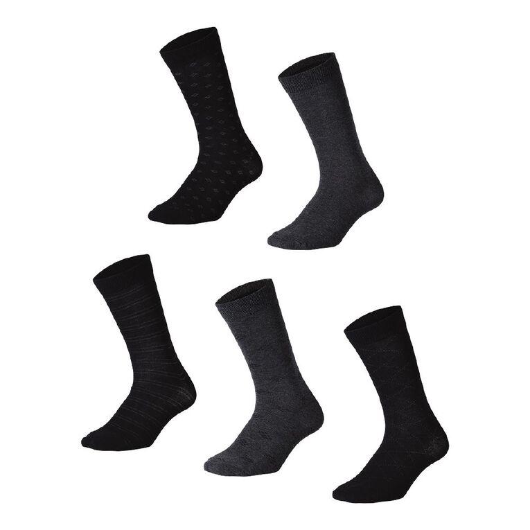 H&H Men's Business Crew Socks 5 Pack, Black/Grey, hi-res