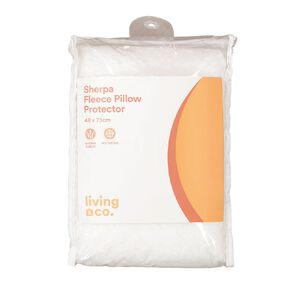 Living & Co Pillow Protector Sherpa Fleece White 48cm x 73cm