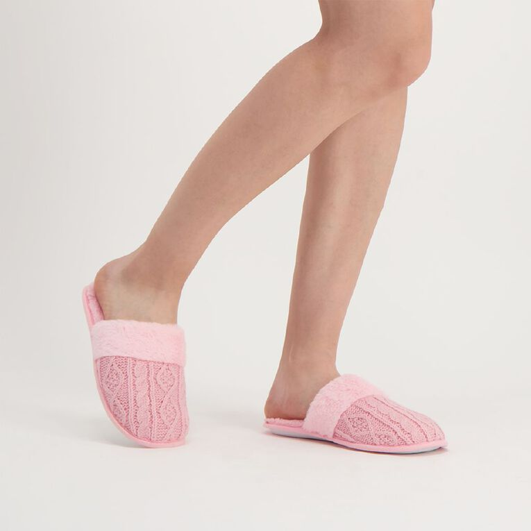 H&H Women's Cable Knit Slippers, Pink Light, hi-res