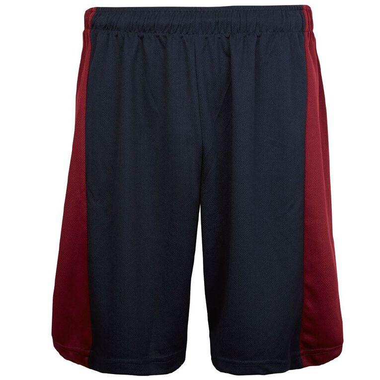 Schooltex Darfield Sports Shorts, Burgundy/Navy, hi-res