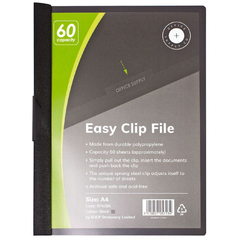 Office Supply Co Easy Clip File 60 Capacity Black A4, , hi-res