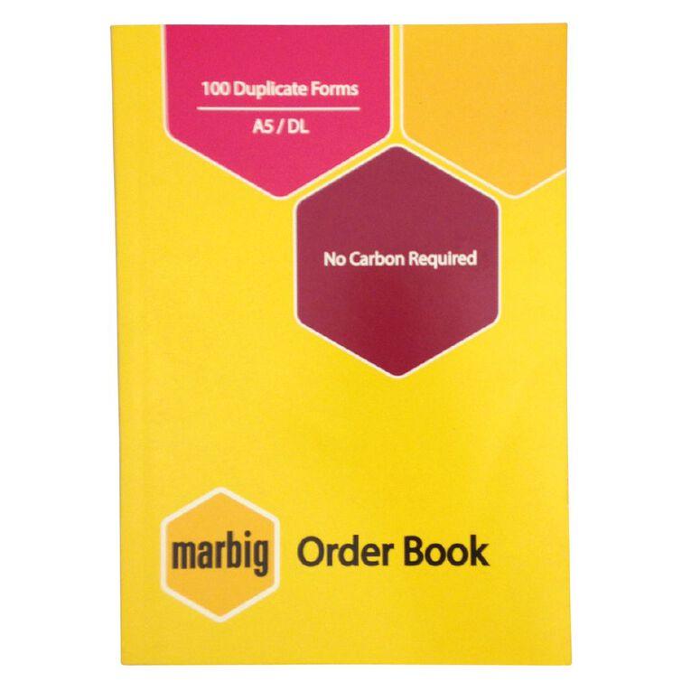 Marbig Order Book Duplicate 100 Leaf Yellow A5, , hi-res