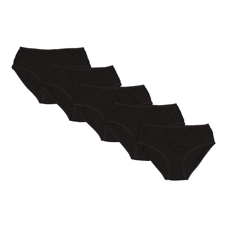 H&H Women's Midi Briefs 5 Pack, Black, hi-res