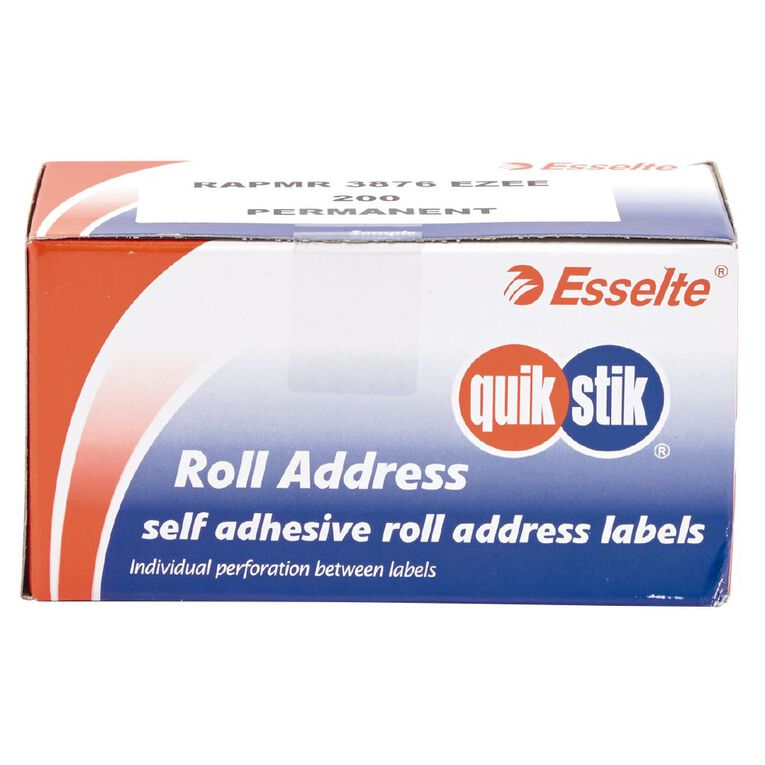 Quik Stik Labels Address Label Roll Dispenser Pack 200 Pack White, , hi-res