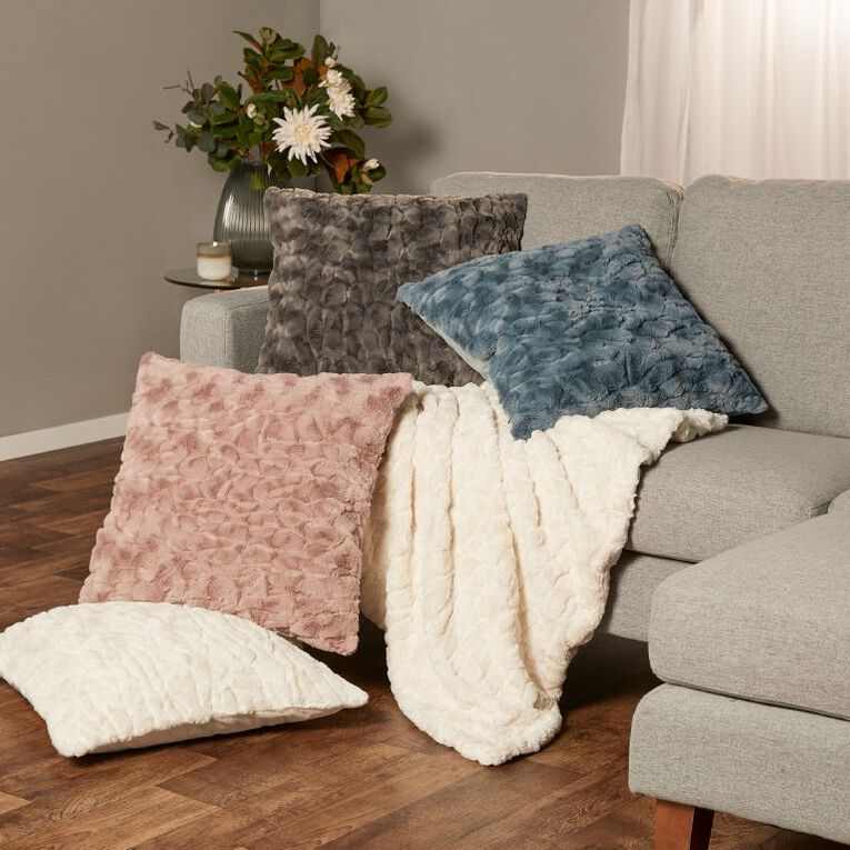 Living & Co Textured Faux Fur Cushion Charcoal 50cm x 50cm, Charcoal, hi-res