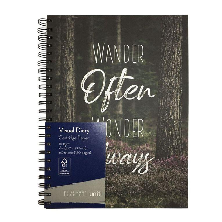 Uniti Platinum Visual Diary Spiral Wander Often Wonder Always A4, , hi-res