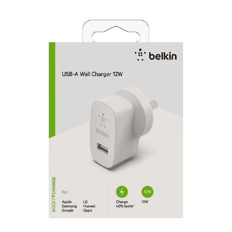 Belkin BoostCharge 12W Single Port USB-A Wall Charger White, , hi-res