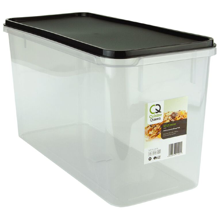 Cuisine Queen Food Storage Container 370mm x 168mm x 206mm Charcoal 10L, , hi-res