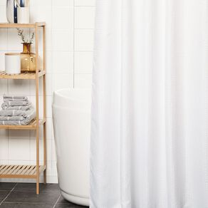 Living & Co Shower Curtain Woven Waffle White 180cm x 180cm