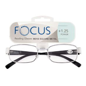 Focus Reading Glasses Men's Square Metal Power 1.25