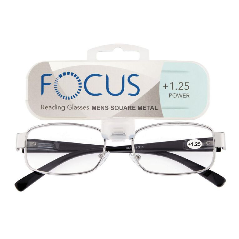 Focus Reading Glasses Men's Square Metal Power 1.25, , hi-res