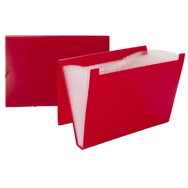 WS Foolscap Expanding File PP 12 Pocket Red, , hi-res