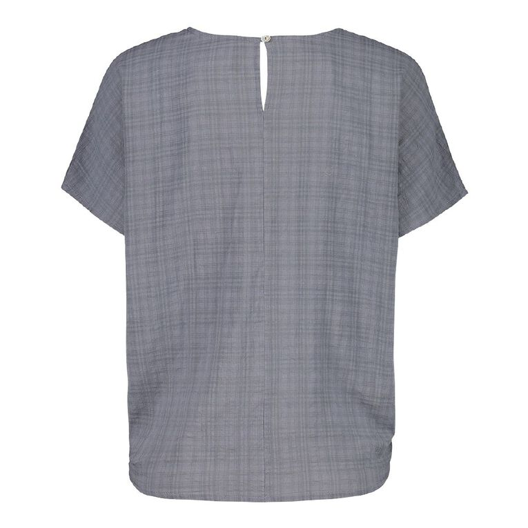 H&H Women's Tie Front Blouse, Grey Dark, hi-res