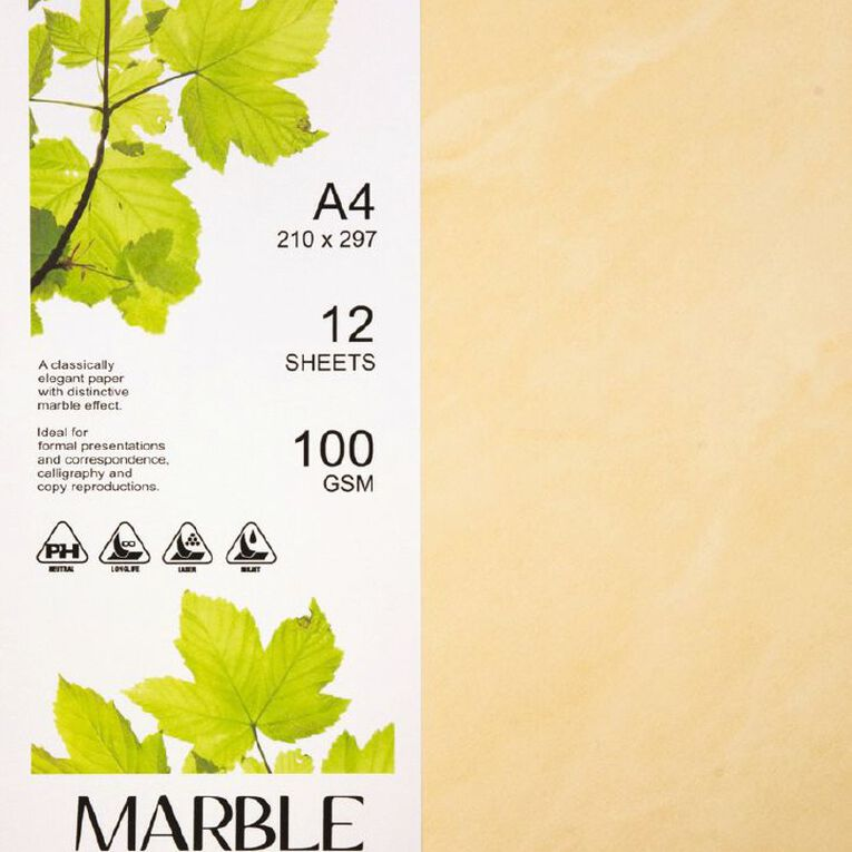Direct Paper Marble Paper 100gsm 12 Pack Yellow A4, , hi-res
