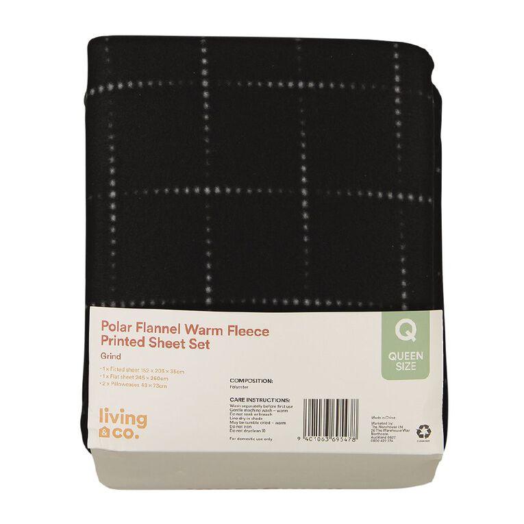 Living & Co Sheet Set Polar Flannel Printed The Grind Black Single, Black, hi-res
