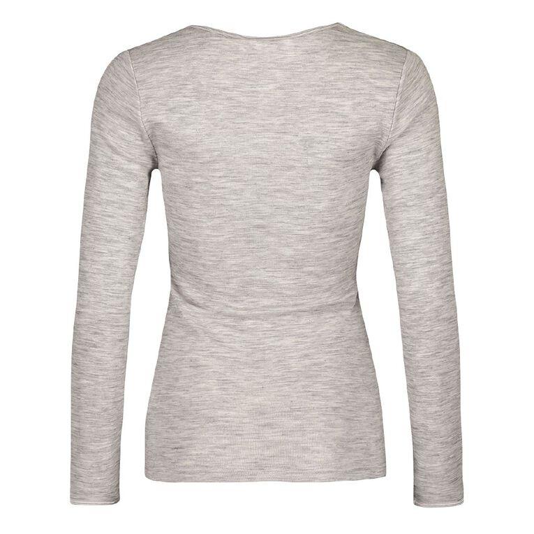 H&H Women's 100% Merino Wool Long Sleeve Thermal Top, Grey, hi-res