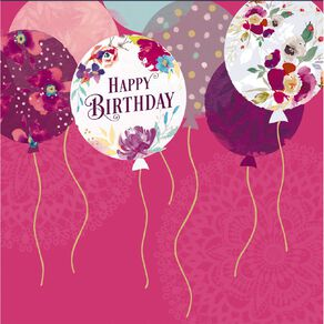 John Sands Birthday Card Balloons with Floral Pattern