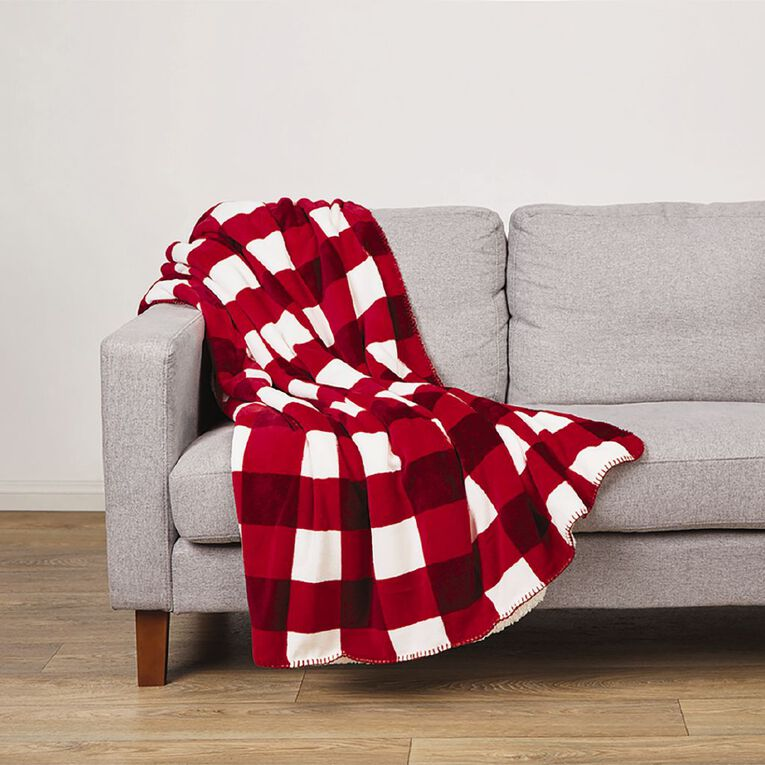 Living & Co Flannel Printed Sherpa Throw Red 127cm x 152cm, Red, hi-res