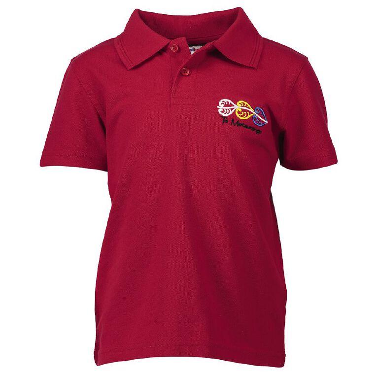 Schooltex Te Matauranga Short Sleeve Polo with Embroidery, Red, hi-res