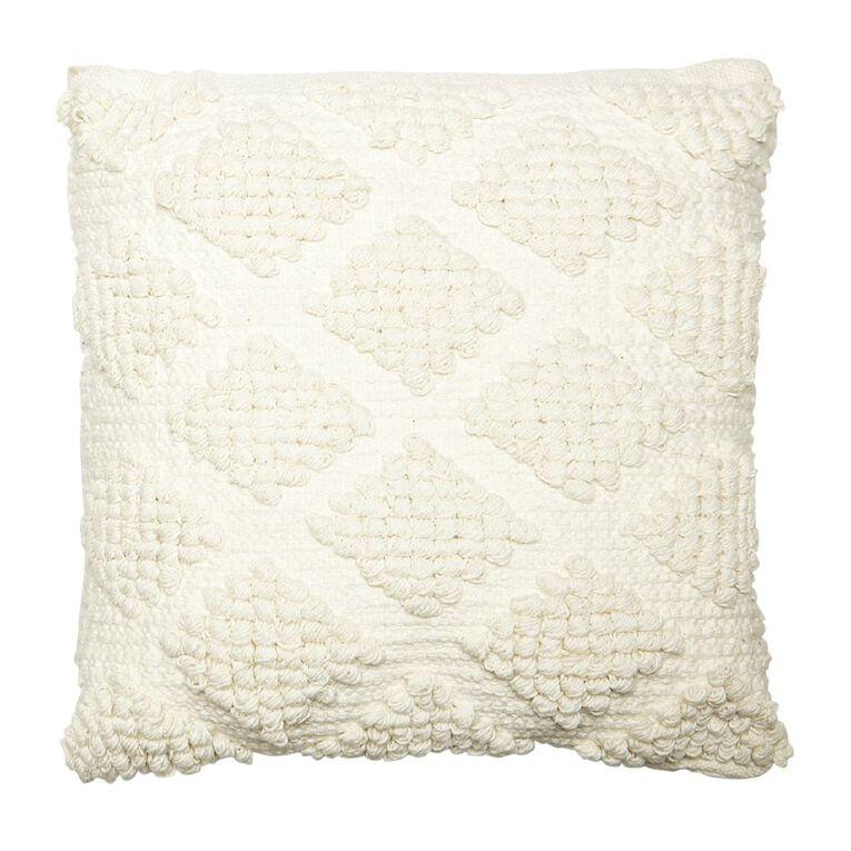 Living & Co Lattice Bobble Cushion White 45cm x 45cm, White, hi-res