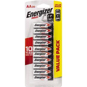Energizer Max Alkaline Batteries AA 20 Pack