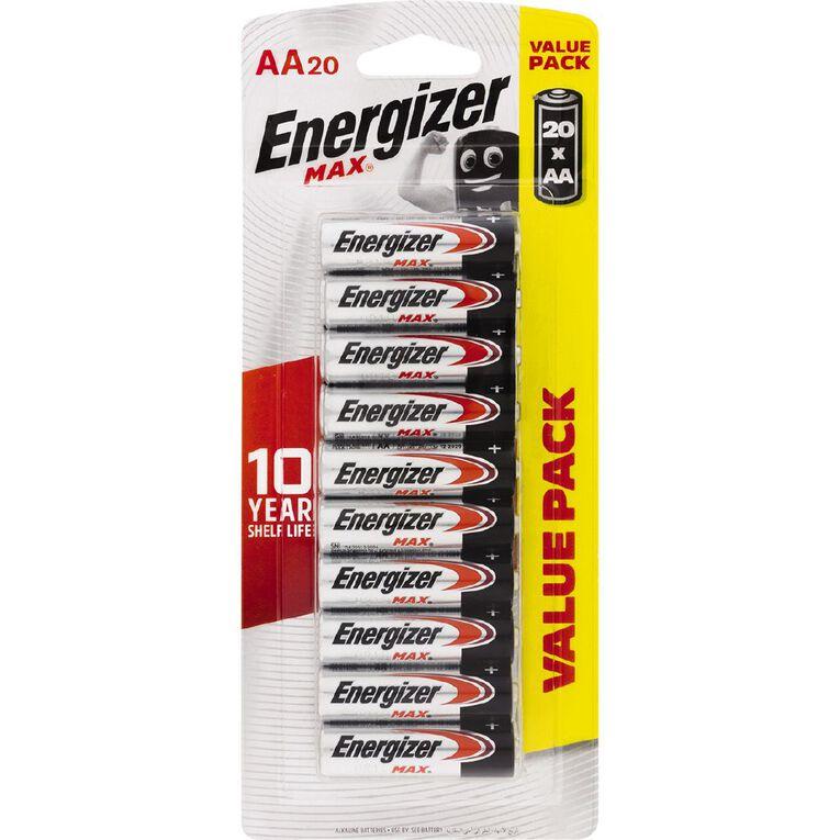 Energizer Max Alkaline Batteries AA 20 Pack, , hi-res