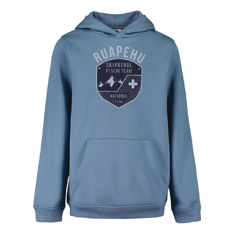 Young Original Print Pull Over Hoodie, Blue Mid, hi-res