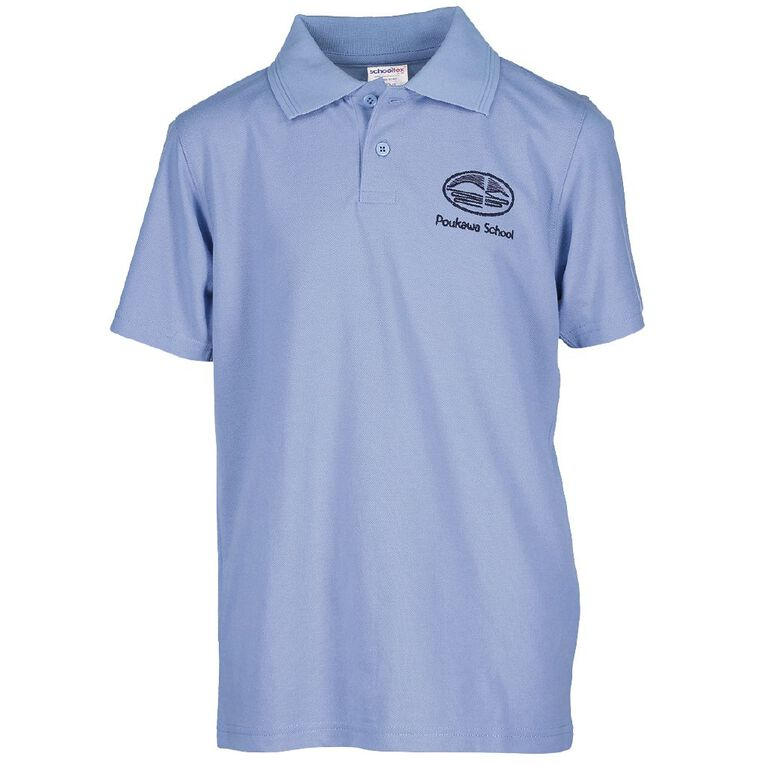 Schooltex Poukawa Short Sleeve Polo with Embroidery, Sky Blue, hi-res