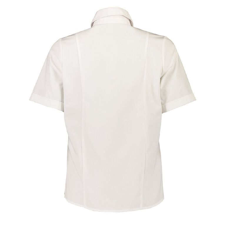Schooltex Tikipunga High Short Sleeve Blouse with Embroidery, White, hi-res
