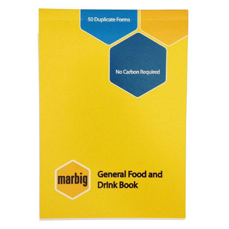 Marbig Food/Beverage Order Book Duplicate 50 Leaf Yellow A6, , hi-res
