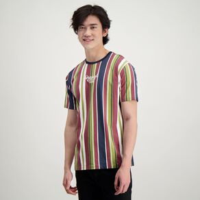 H&H Men's Vertical Stripe Embroidery Tee