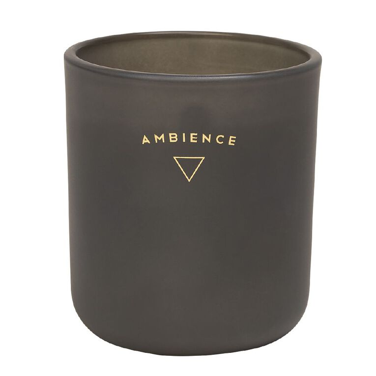 Living & Co Ambience Jar Candle Amber Wood Charcoal 13oz, Charcoal, hi-res